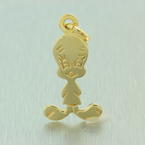 Estate 14K Yellow Gold Looney Tunes Tweety Bird Charm Pendant