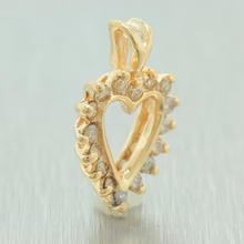 Fine Vintage Estate 14K Yellow Gold Diamond Heart  Pendant