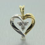 NEW Modern 10K Yellow White Two Tone Gold Diamond Heart Pendant