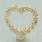 Fine Vintage Estate 14K Yellow Gold Diamond Open Heart Slide Pendant