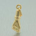 Estate 14K Yellow Gold High Polished 25mm Mano Fico Fig Hand Charm Pendant