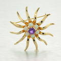 Vintage Estate Classic Ladies 14k Yellow Gold Amethyst and Opal Sun Brooch