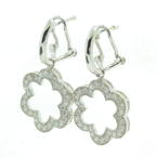 NEW Modern 14K White Gold Diamond 1.50CTW Flower Huggie Earrings