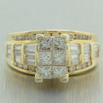 Vintage Estate 14K Yellow Gold Diamond VS 2.00CTW Princess Cut Engagement Ring