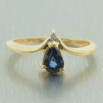 Vintage Retro Estate 10K Yellow Gold London Blue Topaz  Diamond  Right Hand Cocktail Ring