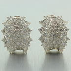 Retro Classic Estate 18K White Gold Natural VVS Diamond 2.50CTW Huggie Latch Back Earrings
