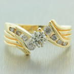Vintage Estate 14K Yellow Gold Diamond Bypass Right Hand Ring Jewelry