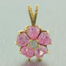 Charming Modern Ladies 10K Yellow Gold Charming Pink White Zirconia Pendant