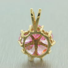 Modern Estate 10K Yellow Gold Pink White Zirconia Pendant