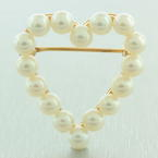 Vintage Estate Classic Ladies 14k Yellow Gold Cultured Pearl Heart Brooch