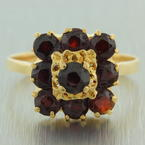 Vintage Estate 18K Yellow Gold Garnet Cocktail Right Hand Ring