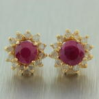 Classic Ladies 14K Yellow Gold Diamond Ruby 0.75CTW BirthStone Stud Earrings