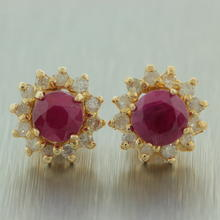 Classic Ladies 14K Yellow Gold Diamond Ruby 1.25CTW BirthStone Stud Earrings