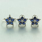 Retro Vintage 14K White Gold Diamond Sapphire 3.50CTW Two Piece Jewelry Set