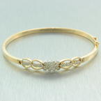Estate Vintage Retro 12K Yellow Gold Diamond 1.00CTW Statement Bangle