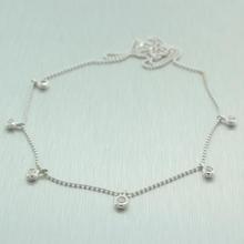 "Modern 10K White Gold Diamond 18""  Fashion Necklace Chain"