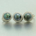 Vintage Estate 14K White Gold Tahitian Pearl Diamond Ladies Ring Earrings Set
