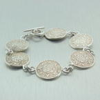 Exquisite Sterling Silver 925 Ladies Aztec Calendar Design Bracelet