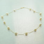 "Classic Womens Vintage Estate 14K Yellow Gold Pearl 18"" Necklace"