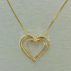 Fine 14K Yellow Gold Diamond Anniversary Heart Pendant Chain