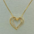 Fine 14K Yellow Gold Diamond Anniversary Heart Pendant Chain