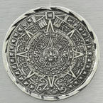 Sterling Silver 925 Aztec Calendar Two In One Very Unique Pendant Or Pin