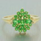 Retro Vintage Estate 14K Yellow Gold Pear Cut Emerald Right Hand Cocktail Ring