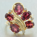 Vintage Retro 14K Yellow Gold Maroon Tourmaline Diamond 3.50CTW Right Hand Cocktail Ring