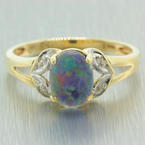 Vintage Ladies 10K Yellow Gold Opal Diamond 0.70CTW Cocktail Ring Jewelry