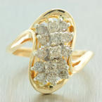 Classic Womens Vintage 14K Yellow Gold Diamond 1.00CTW Cluster Cocktail Ring