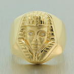 Rare Vintage Estate Men's 18K Yellow Gold Egyptian Pharaoh Diamond Ring