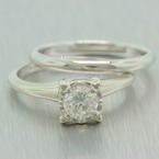 Classic Vintage Artcarved 14K White Gold Diamond 0.52 Solitaire Wedding Ring Set