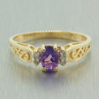 Vintage Estate 10K Yellow Gold Amethyst Diamond 0.40CTW Filigree Right Hand Ring
