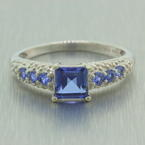 NEW Modern 10k White Gold Sapphire Diamond 1.00CTW Right Hand Ring