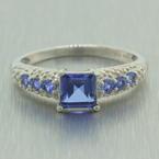 NEW Modern 10k White Gold Sapphire Diamond 1.00CTW Right Hand Ring