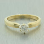 Estate Classic 14K Yellow Gold Diamond 0.25CTW Solitaire Engagement Ring Jewelry