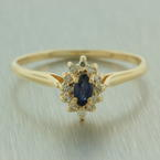 Vintage Retro Estate 14K Yellow Gold Spinel and Diamond 0.25CTW Right Hand Cocktail Ring