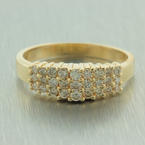 Classic Womens Vintage 14K Yellow Gold Diamond Cathedral Right HandRing