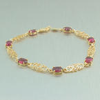 Retro Vintage Estate 14K Yellow Gold Maroon Tourmaline 4.00CTW  Accent Bracelet