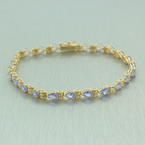 "Vintage Estate 14K Yellow Gold Pear Cut Lolite 2.75CTW 7"" Statement Bracelet"