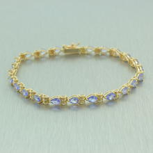 "Modern Estate 14K Yellow Gold Pear Cut Iolite 7"" Statement Bracelet"