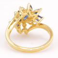 Vintage Womens 14K Yellow Gold Blue Sapphire & Diamond Cluster Cocktail Ring