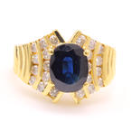 Vintage 14K Yellow Gold Diamond Blue Sapphire Cocktail Ring