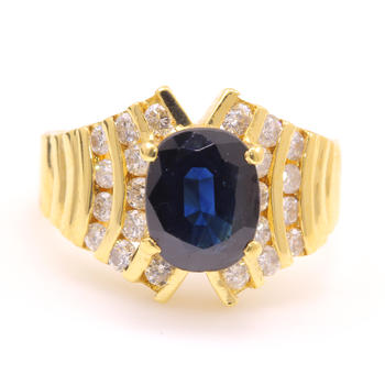Vintage 14K Yellow Gold Diamond Blue Sapphire Cocktail Ring