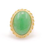 Fine Antique Art Nouveau 14K Yellow Gold Jade Cabochon 12.15CTW Cocktail Ring