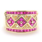 Fine Vintage Retro 14K Yellow Gold Red Spinel & Diamond Anniversary Ring Band