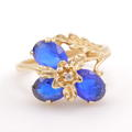 Fine Estate Vintage 10K Yellow Gold Blue Spinel 2.25CTW Right Hand Ring