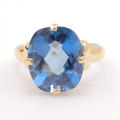 Vintage Ladies 14K Yellow Gold London Blue Topaz Oval Cut 8.35CTW Gem Cocktail Ring