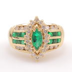 Fine Vintage Estate 14K Yellow Gold Natural Emerald & Diamond 1.50CTW Cocktail Ring