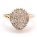 Classic 10K Yellow Gold Diamond 0.80CTW Pear Right Hand Ring Cocktail Ring